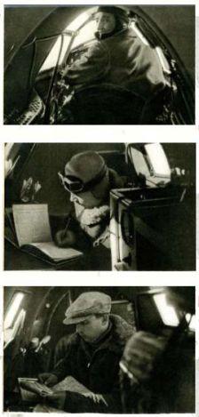 Chkálov, Belyakov y Baidukov en sus puestos durante la travesía