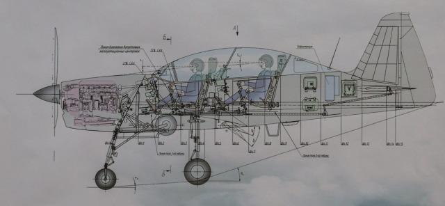Corte con la disposición interna del Yak-152